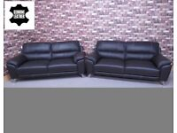 QUALITY EX DISPLAY 'ANJI' PAIR OF GENUINE LEATHER 3 SEATER SOFAS IN MOCHA BROWN SETTEES/SUITE