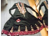 Asian Women Party Dress, size M, 3-piece, with dupatta & trousers, embroidery and beads