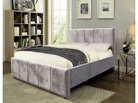 PLUSH VELVET BED - FRAME BED IN PLUSH VELVET - VERTICAL HEADBAORD - A+ FEEDBACK