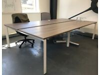 4 positions office desk workstation table bench with white legs