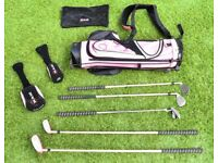 RAM Pink Kids Golf Set: 5 Clubs, Covers, Towel and Bag with stand. Good condition RH Age 8 - 12