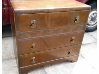 Vintage / Antique Wooden Chest of Drawers, 3 Drawer Set, Carved Detail