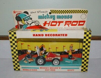 1967 Multiple Toymakes Mickey Mouse Hot rod Car in Box Donald & Goofy HONG KONG
