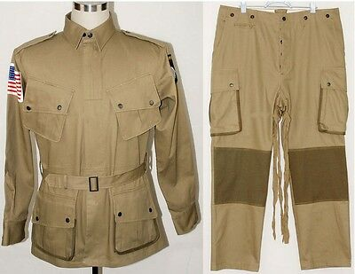 Used, WWII US Army M1942 M42 Airborne Paratrooper Uniform Jumpsuit Jacket Trousers S for sale  China