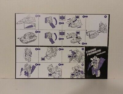 Transformers G1 1988 OVERLORD instructions manual Glossy Repro
