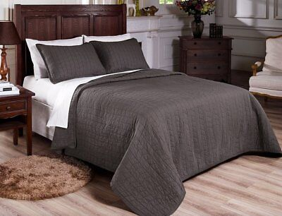 Fancy Linen 3pc Queen and King Quilted Bedspread Embroidery Gray Pre-Washed New  ()