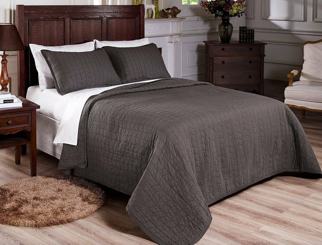 Fancy Linen 3pc Queen and King Quilted Bedspread Embroidery