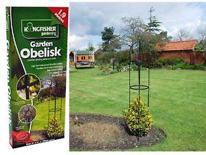 BLACK METAL GARDEN OBELISK ROSE BUSH SHAPE CLIMBING PLANTS SUPPORT FRAME 1.9M