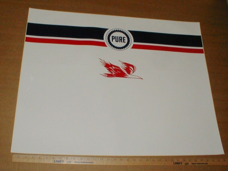 Pure Oil vtg old Gasoline Pump Wrap LG New gas station decal sticker 26x33 rare