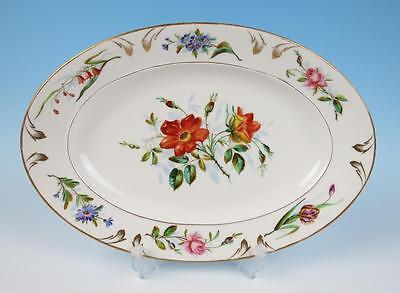 "Antique 19th C. Haviland Old Paris 15.75"" Platter Pink Roses Porcelain HP French"