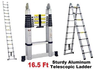 Folding 16.5 Ft Multi-purpose Aluminum Telescopic Ladder En131 Extension New