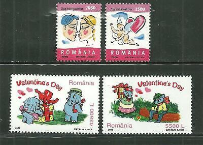 ROMANIA 4345-46, 4502-03 MNH VALENTINES DAY 2000, 2002 SCV 5.25