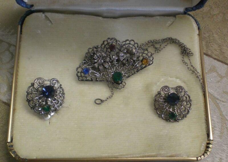 Silver Filigree Earrings Floral Fan Brooch Sterling Necklace Colored Rhinestones