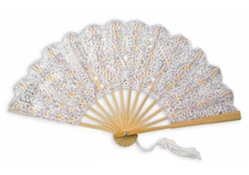 Silver Battenburg Lace Fan, Lace Fans for Wedding