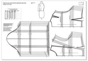 FASHION PATTERN BLOCK-PLUS SIZE BASIC BODICE BLOCK SIZES 16- 26 - SLOPER