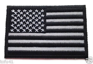 Black-and-White-U-S-AMERICAN-FLAG-REFLECTIVE-Biker-Patch-P3270-E