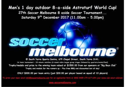 Mens 1 Day 8 aside Soccer World Cup - South Yarra 9th December