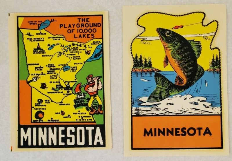 Lot of 2 Vintage Minnesota Water Transfer Luggage Decals - Car Luggage Souvenir