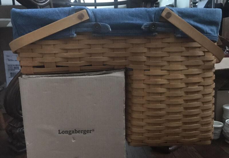 longaberger 2002 step it up basket With Denim Liner And Protector