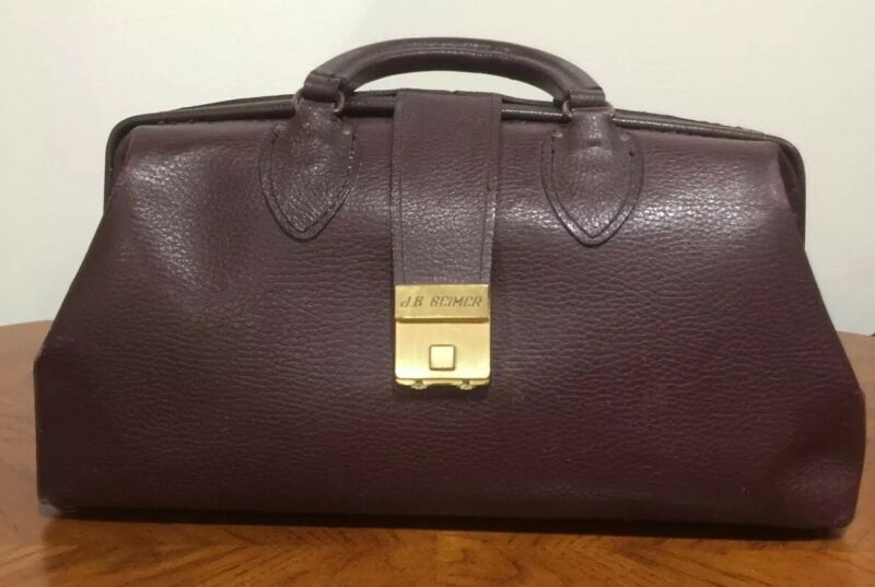 Vintage Schell Burgundy Pebbled Leather Doctor Medical Bag Satchel Steampunk