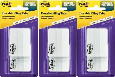 Lot Of 3 - Post-it Durable Tabs 2 White Pad Of 50 Flags Ea