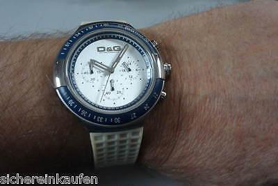 coole runde Dolce & Gabbana Chronograph DW0417: weiße Damenuhr/Herrenuhr D&G Uhr gebraucht kaufen  Wölfersheim