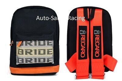 - 0JDM Bride Racing Backpack With RECARO Racing Harness Shoulder RED straps