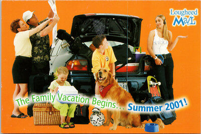 Lougheed Mall Advert Burnaby BC Vancouver 2001 AD Orange Family Dog Postcard (Vancouver Malls)