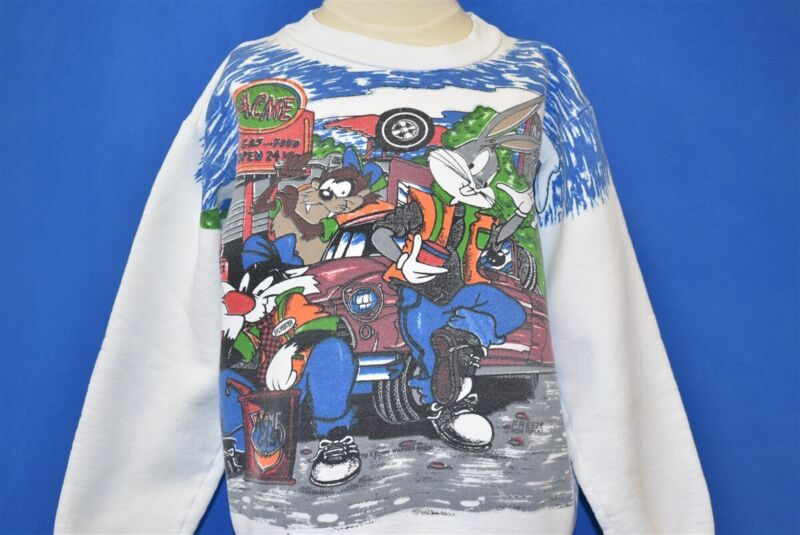 vintage 80s LOONEY TUNES TAZ BUGS BUNNY CAR SYLVESTER SWEATSHIRT YOUTH LARGE