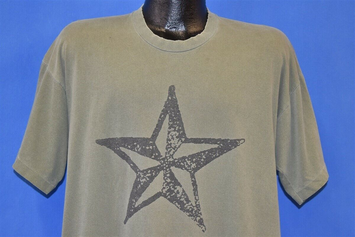10d71d1e3 vintage 90s R.E.M. 1995 MONSTER ALBUM TOUR STAR ARMY GREEN DISTRESSED t- shirt XL