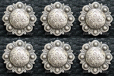"""Set of 6 WESTERN HEADSTALL SADDLE ANTIQUE BERRY CONCHO 1"""" SCREW BACK"""