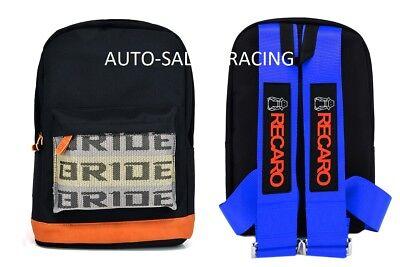 - JDM Bride Racing Backpack With RECARO Racing Harness Shoulder BLUE straps