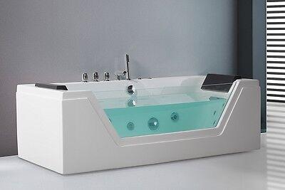 Whirlpool Badewanne freistehend mit Glas LED Licht Wasserfall Glasfront für Bad
