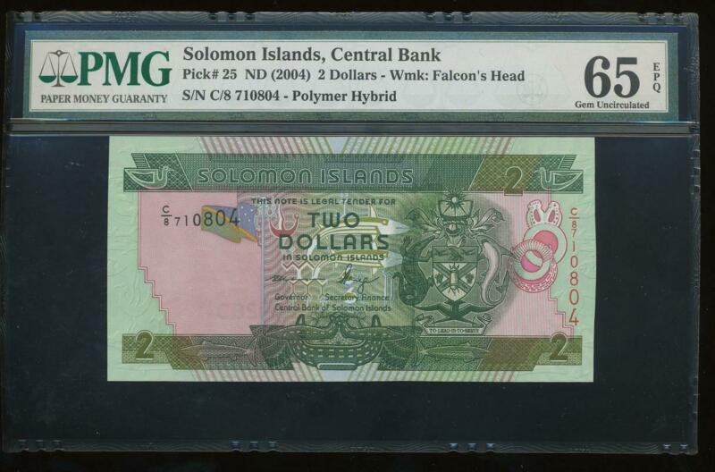 AC Solomon Islands Pick 25 2004 2 Dollars PMG 65EPQ