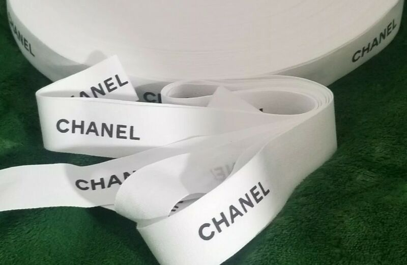 """CHANEL Ribbon 1"""" wide White Matte w/Black Letters NEW UNUSED /SOLD BY YARD/S"""