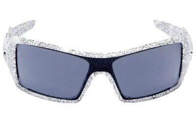 Oakley Oil Rig Sunglasses 03-461 White/Text Print/Grey M46 Oakley Print Sunglasses