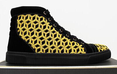 $1100 NIB Italy LOUIS LEEMAN Men's Black Gold High Top Shoes Sneakers 10-US 43