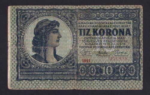 Hungary Ungarn 10 Korona 15 July 1919 .  Pick # 37 . Scarce banknote