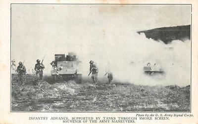 Infantry Advance Tanks U S Army Signal Corps Military Postcard  C  1940S