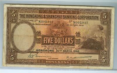 Hong Kong 1946 Hsbc 5 Dollars P 173E Very Fine