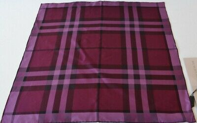 New Burberry $175 Silk Twill Plum Nova Check Square Neck Scarf