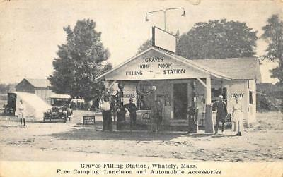 Whately MA Graves Gas Filling Station Free Camping Luncheon, Postcard