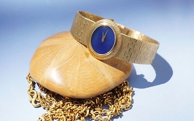 Piaget 18kt Yellow Gold & Lapis Ladies Watch, Vintage, Oval Dial, Immaculate!