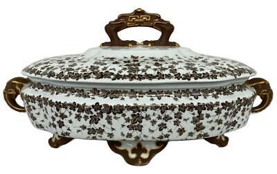 Antique 19thC Royal Worcester Brown Ivy Elephant Porcelain Lid Tureen Bowl Dish