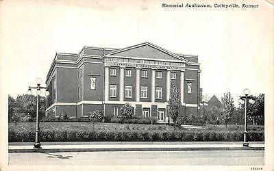Coffeyville  Ks  Kansas         Memorial Auditorium       Black   White Postcard