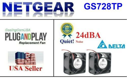 Set of 2x Quiet Replacement Fans for Netgear ProSafe GS728TP (24dBA noise)