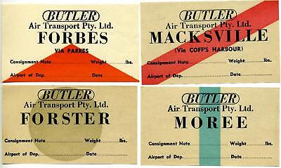 Butler Air Transport Pty  Ltd   Australia  Group Of 4 Diff Airline Labels  1955