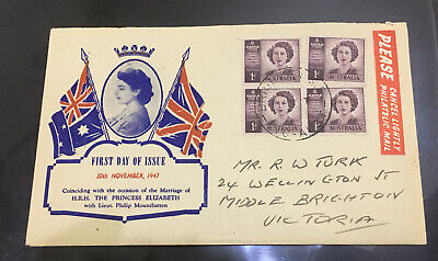 1947 Australia FDC royal queen Elizabeth  4stamps