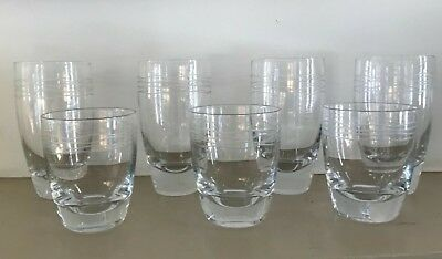 contemporary etched drinking glasses, wave pattern set of 7