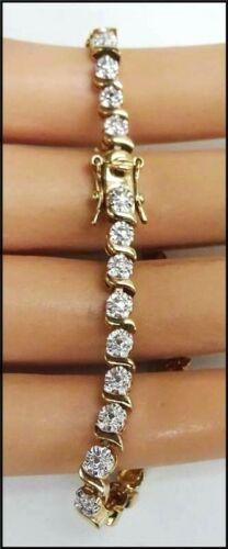 Vintage Vermeil Gold Over Sterling Silver CZ Crystal Ross Simons Tennis Bracelet